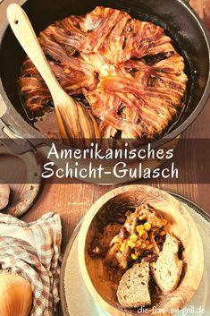 Das US Schicht Gulasch kann man auch als amerikanisches Schichtfleisch bezeichnen. Klappt im Dutch Oven aber auch im Bräter im Backofen. Auf alle Fälle stärkend im Herbst und Winter. Sowohl Familien- als auch Party-Tauglich! #gulasch #schichtfleisch #lecker #dutchoven #rezept #bbq #grillen #kochen #rezepte Fabulous Foods, Grilling, Curry, Beef, Ethnic Recipes, Kitchen, Party Ideas, Dinner, Goulash Recipes