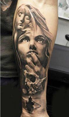 Realistic black and gray Face tattoo by artist Proki Tattoo Forarm Tattoos, 3d Tattoos, Sleeve Tattoos, Cool Tattoos, Tattoo Forearm, Awesome Tattoos, Maria Tattoo, Black And Grey Sleeve, World Tattoo