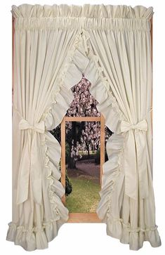 Window Toppers Stephanie Country Ruffle Priscilla Curtains Pair 86 Inch W by 54 Inch L - 3 Inch Rod Pocket, Natural Primitive Curtains, Farmhouse Curtains, Country Curtains, Kitchen Curtains, Ruffle Curtains, Shabby Chic Curtains, Shabby Chic Decor, Window Curtains, Window Cornices