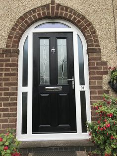 Black composite door set withing an arched white upvc frame. Black Composite Door, Front Doors, Garage Doors, Door Sets, Porches, Frame, Outdoor Decor, House, Home Decor