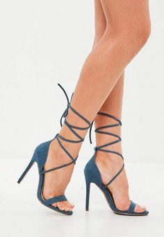 Blue Denim Lace Up Barely There Heels - These blue denim heels come in a lace up style with a stiletto heel. Denim Heels, Strappy Heels, Heeled Sandals, High Heel Pumps, Pumps Heels, Stiletto Heels, Stilettos, Denim And Lace, Blue Denim