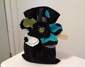 Gift Bag, Treat Bag, Wedding Favor in Groovy Guitar and Lava Light fabric..black, teal and green