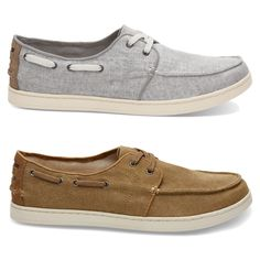 TOMS Mens Culver Boat Shoes Drizzle Grey Or Toffee Washed Various Sizes