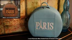 Leather luggage painted to match your style ;) This is an amazing transformation done with Shabby Paints.   This paint is incredible!! LOVE+Love+love the blue!
