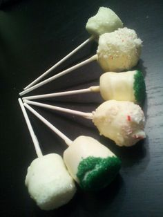 Assorted white chocolate marshmallow pops