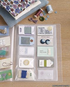 Here's a mending must-have: A simple business-card organizer (from an office-supply store) that keeps all the fixings for your clothes in one place.