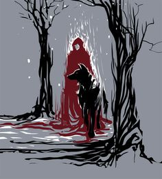 Red Riding Hood and black wolf . Drawn by roncheg Snake Art, Black Wolf, Red Riding Hood Wolf, Fantastic Art, Illustration Art, Art, Wolf Art, Wolf Drawing, Fairytale Art