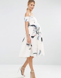 Scalloped bardot midi dress: http://www.stylemepretty.com/living/2016/09/02/10-gorgeous-maternity-dresses-for-the-mama-to-be-bump/