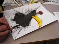 Great art project for kids - turning blown ink experiments into wild and exciting ink creatures