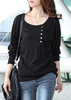 Black Long Sleeve Button Design T Shirt on sale only US$21.06 now, buy cheap Black Long Sleeve Button Design T Shirt at lulugal.com