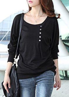 Black Long Sleeve Button Design T Shirt on sale only US$21.06 now, buy cheap Black Long Sleeve Button Design T Shirt at lulugal.com