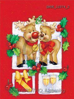 Stephen, CHRISTMAS ANIMALS, paintings, 2 elks, glasses, gift(GBUK12574/2,#XA#) Weihnachten, Navidad, illustrations, pinturas