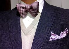 Theory shirt, Tom Ford bow tie, Vince sweater, Paul Smith jacket and pocket square.