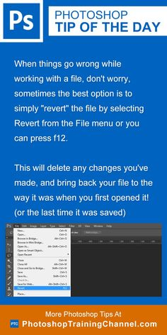 """When things go wrong while working with a file, don't worry, sometimes the best option is to simply """"revert"""" the file by selecting Revert from the File menu or you can press f12.This will delete any changes you've made, and bring back your file to the way it was when you first opened it! (or the last time it was saved)"""