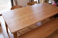 チェリー材はぎテーブル&ベンチ&チェア