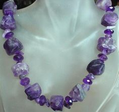 Amethyst Necklace  Frosted Amethyst Nuggets  Free by camexinc, $43.00