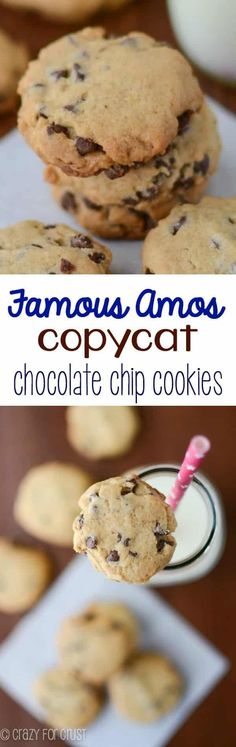 Famous Amos Copycat Chocolate Chip Cookies - these EASY cookies taste better than the original recipe! I dipped a glass in sugar to flatten. Easy Chocolate Chip Cookies, Yummy Cookies, Chocolate Recipes, Chocolate Chips, Baking Chocolate, Chocolate Cupcakes, Cake Cookies, Köstliche Desserts, Delicious Desserts
