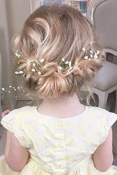 hairstyles for flower girl / http://www.himisspuff.com/rustic-babys-breath-wedding-ideas/14/