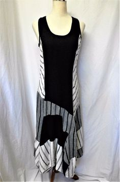 LAUREN VIDAL Sz M BLACK WHITE GRAY 100% LINEN DETAILED LAGENLOOK STYLE DRESS  #LaurenVidal #SheathLagenlook #Casual