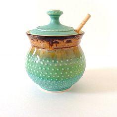 DISCOUNTED Sugar Bowl / Sugar Jar / Honey Pot in Green by RiverStonePottery