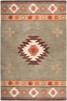 Buy the Rizzy Home Green 5 x 8 Direct. Shop for the Rizzy Home Green 5 x 8 Southwest Hand-Tufted Wool Rug and save. Southwestern Area Rugs, Southwest Decor, Southwest Style, Southwestern Bedroom, Wool Area Rugs, Blue Area Rugs, Wool Rug, Textiles, Rug Material