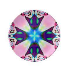 Pink Purple Blue Fractal Plate
