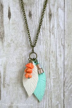 The Crafted Sparrow: Polymer Clay Feather Necklace