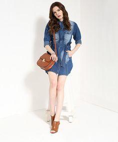 Yepme Button-Down Denim Dress - Medium Wash