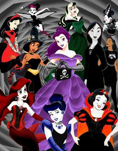 Disney Princesses go goth. Cartoon Crossover.