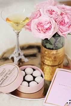 Cocktail Hour Vignette - the Eiffel Tower Cocktail Glass & Chocolate Truffles make a Nice French Reference if You're a Parisian Lover Champagne Party, Pink Champagne, Champagne Truffles, Little Paris, Cocktail Glass, Perfume, Beautiful Dream, Belle Photo, Pretty In Pink