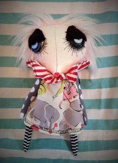 "My new work. The new design is becoming very popular! All limbs are string jointed. Dress fabric is limited edition print ""Vintage circus."""