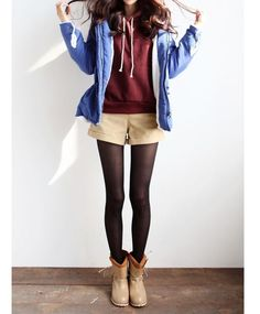 Fall / winter outfit. Burgundy sweatshirt, blue hoodie, khaki shorts, black tights, brown booties
