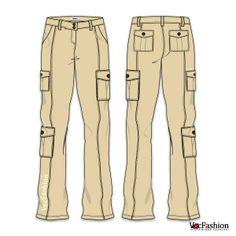 Women's Cargo Pants Vector Template