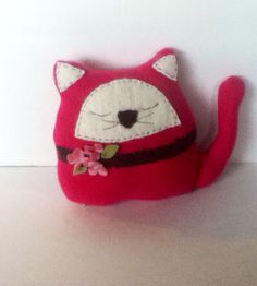 Hot pink cashmere cat pillow on Etsy, $18.00