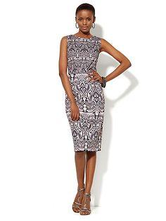 NY&Co Scuba Sheath Dress - Scroll Print - B&W