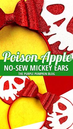 How To Make No-Sew Snow White Poison Apple Mickey Ears - - Love Snow White and the Evil Queen? These Poison Apple Mickey Ears are perfect for you! This no-sew tutorial shows you how to make a pair of Disney Ears! Disney Cute, Diy Disney Ears, Disney Mickey Ears, Mickey Mouse Ears, Disney Halloween, Disney Christmas, Halloween Crafts, Scary Halloween, Mickey Halloween Party