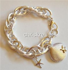 Silver Gold Plated Sea Life Charm Bracelet Shell Starfish Beach Island USASeller #HopeCollection #Chain