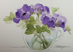 Original Painting Purple Flowers in Glass Cup by RoseAnnHayes