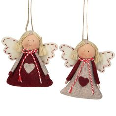 Shop for Set of 2 Gray and Red Girl Angel Christmas Ornaments . Get free delivery On EVERYTHING* Overstock - Your Online Christmas Store! Christmas Crafts For Adults, Christmas Ornaments To Make, Christmas Sewing, Felt Ornaments, Christmas Angels, Christmas Projects, Felt Crafts, Holiday Crafts, Fabric Christmas Decorations