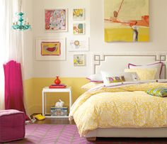 i love the bright colors...great teenage girl's bedroom.