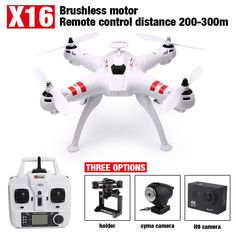 NEW  X16 Brushless FPV Drone Headless Mode 300M Distance With 2MP Wifi Camera Or 14MP HD Camera Rc Quadcopter VS MJX X102H