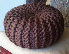 KNITTING PATTERN 4 Knitted & Crochet Pouf Floor by isWoolish
