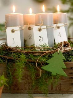 Advent candles - simple tags tied with string Christmas Advent Wreath, Noel Christmas, Christmas Candles, Green Christmas, Country Christmas, Winter Christmas, Christmas Crafts, Christmas Decorations, Advent Wreaths