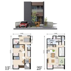 Home Design Plans, Plan Design, Box Houses, House Elevation, Industrial House, Japanese House, Small House Plans, House Layouts, Modern Architecture