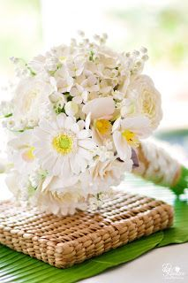 DK Designs - clay wedding bouquet for a country vintage wedding - white/ivory/green/yellow. Hydrangeas, phaleanopssi orchids, gerbera daisies, cabbage roses, lisianthus and lily of the valley, and burlap and lace