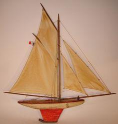 CANOT DE BASSIN BATEAU VOILIER DEFFAIN 4 VOILES COQUE PEINTE 2 TONS 1920 1930 in Jouets et jeux, Jouets, jeux anciens | eBay