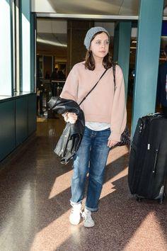 Petal pink sweater, boyfriend jeans and gray knit beanie.  - Bel Powley