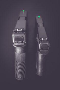 Glock 19 & Glock 42 mounted with night sights.