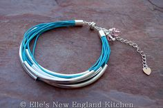 Light Blue Cotton Cord Noodle Bead Bracelet. $20.00, via Etsy.