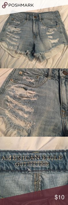 American Eagle Outfitters destroyed denim shorts. American Eagle Outfitters destroyed jean shorts. In good condition. Has small stain on back below left pocket. American Eagle Outfitters Shorts Jean Shorts